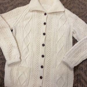 Fisherman Knit Cream Cardigan medium